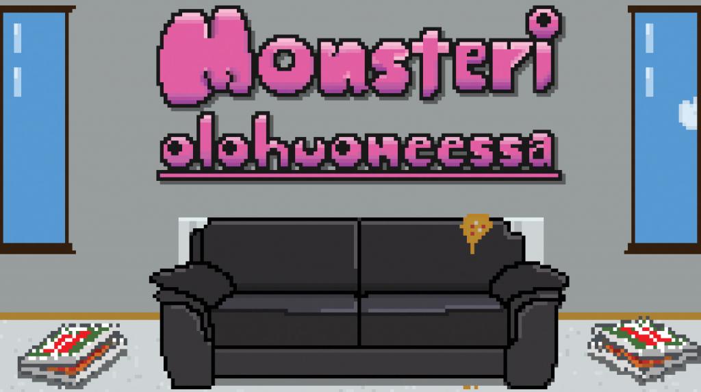 Monsteri olohuoneessa -näytelmän julistekuva